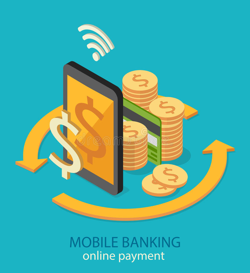 Flat isometric mobile online payment concept web infographics vector illustration stock illustration