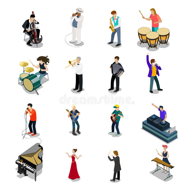Flat isometric Musicians vector icon. 3d Entertain. Flat isometric Musicians and showmen vector icon set. 3d isometry Entertainment concept. Group of people vector illustration