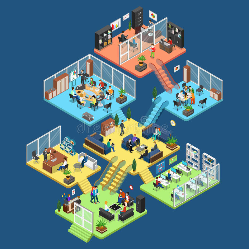 Flat isometric office interior department staff ve. Flat isometric office center floors interior, company departments with staff illustration. 3d isometry vector illustration