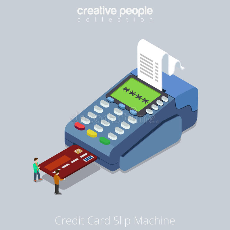 Flat Isometric People Credit Card Terminal Vector Stock Vector ...