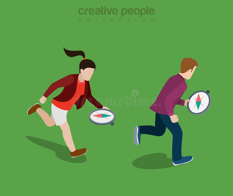 Flat isometric people run compass direction vector. Flat isometric casual people running and navigating with compass in hands to find right direction vector royalty free illustration