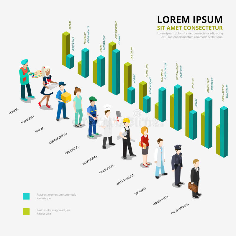 Flat isometric profession Male female worker. Flat isometric Male and female professional workers ratio scale and diagram infographics template vector stock illustration