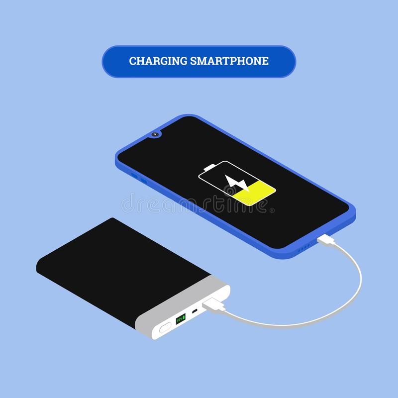 Flat isometric Smartphone connection with power bank via USB cable. Vector 3d illustration. Isometry frameless phone. Flat isometric Smartphone connection with vector illustration