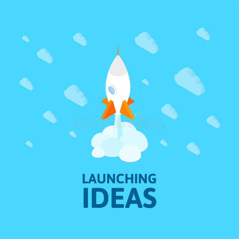 Flat isometric space symbol rocket ship icon, startup concept royalty free illustration