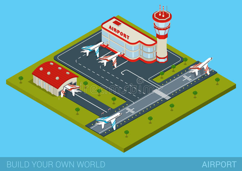 Flat isometric style airport building, hangar, runway, airplanes. Airport flat 3d web isometric infographic concept vector. Terminal building, airfield, hangar stock illustration