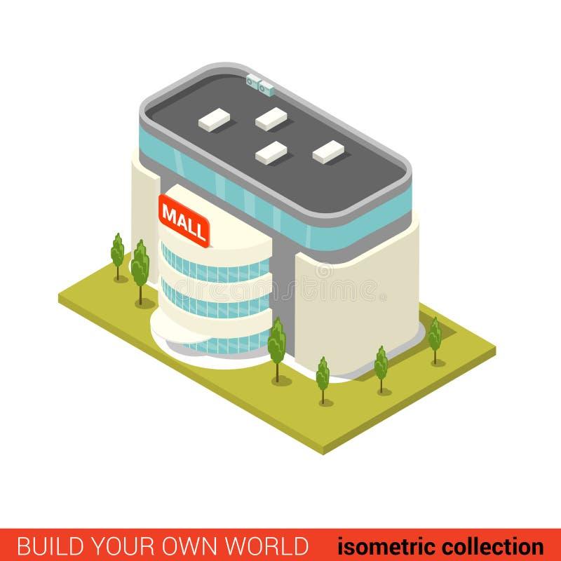 Flat isometric supermarket mall sale building block infographic stock illustration
