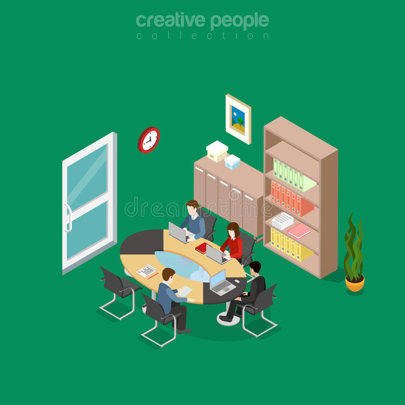 Flat isometric team office meeting room vector. 3d royalty free illustration