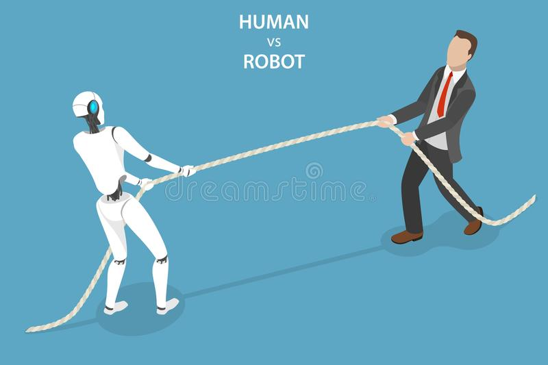 Human vs robot flat isometric vector concept. Flat isometric vector concept of the competition of a robot and a human, artificial intelligence, business royalty free illustration