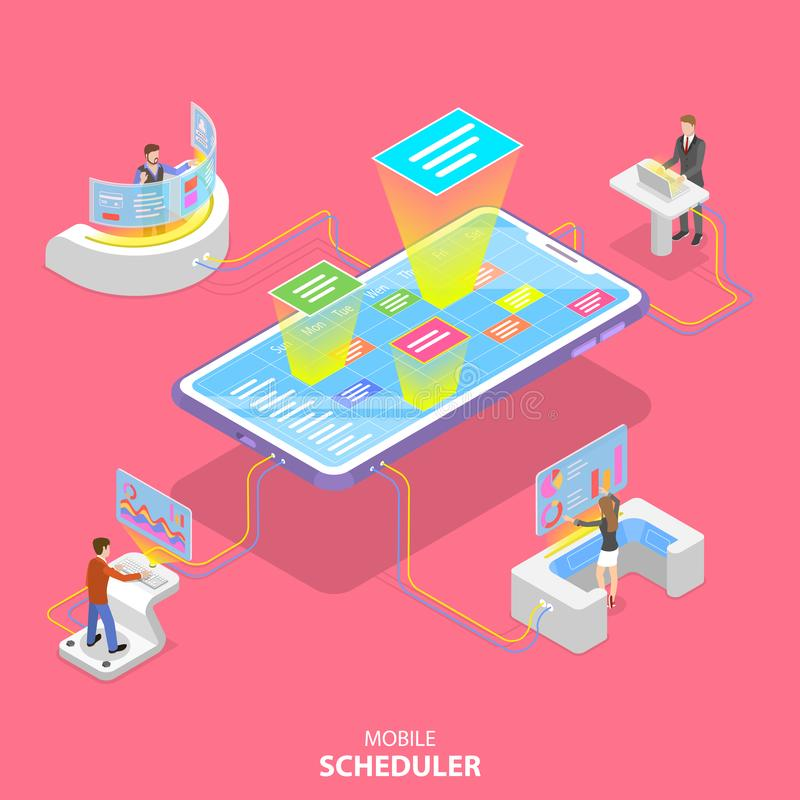 Flat isometric vector concept of mobile scheduler, business planning. Schedule, meeting appointment, agenda stock illustration