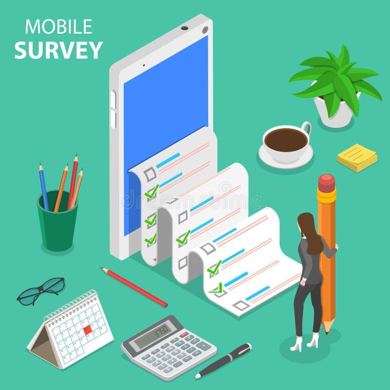 Mobile survey flat isometric vector concept. vector illustration