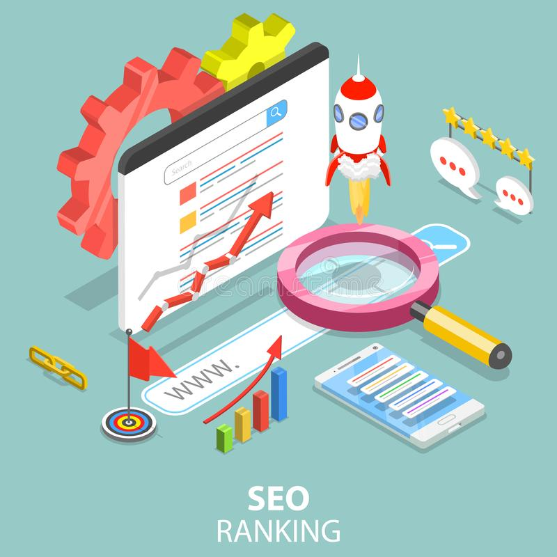 SEO ranking flat isometric vector concept. stock illustration