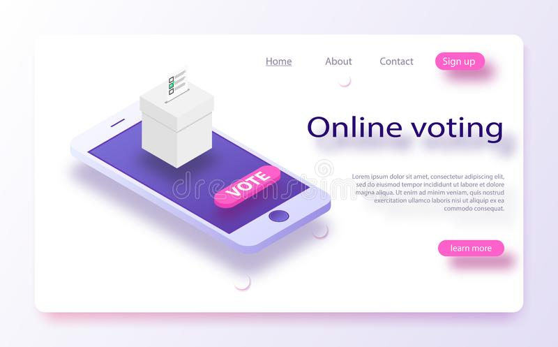 Flat isometric vector concept voting online, e-voting, election internet system.n vector illustration