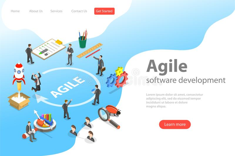 Flat isometric vector landing page of agile software development. royalty free illustration
