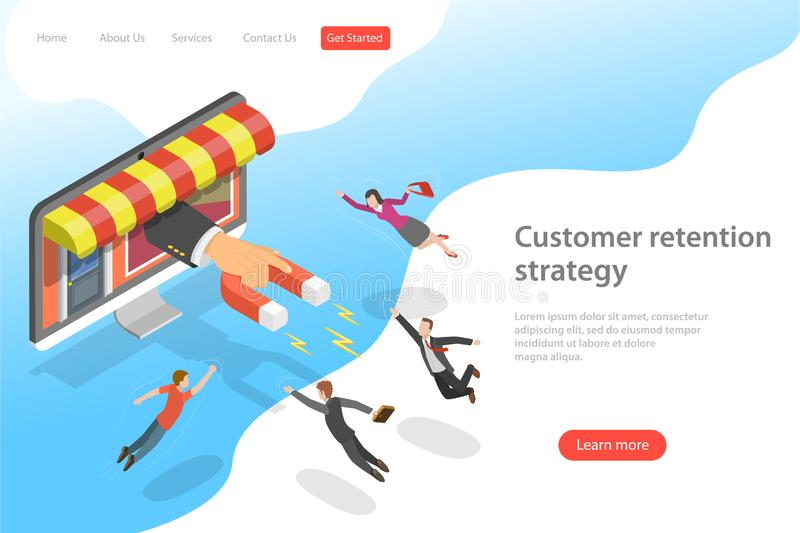 Flat isometric vector landing page template for customer retention strategy. royalty free illustration