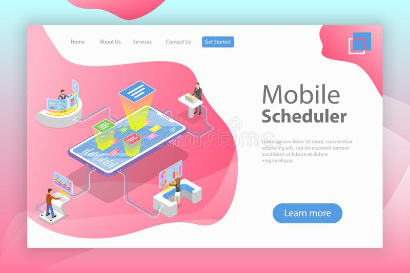 Flat isometric vector landing page template of mobile scheduler. Business planning, schedule, meeting appointment, agenda vector illustration