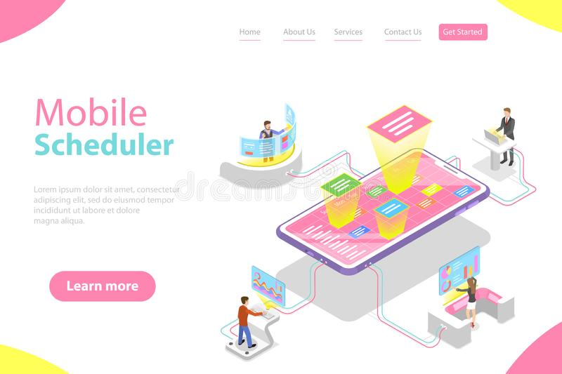 Flat isometric vector landing page template of mobile scheduler. Business planning, schedule, meeting appointment, agenda royalty free illustration
