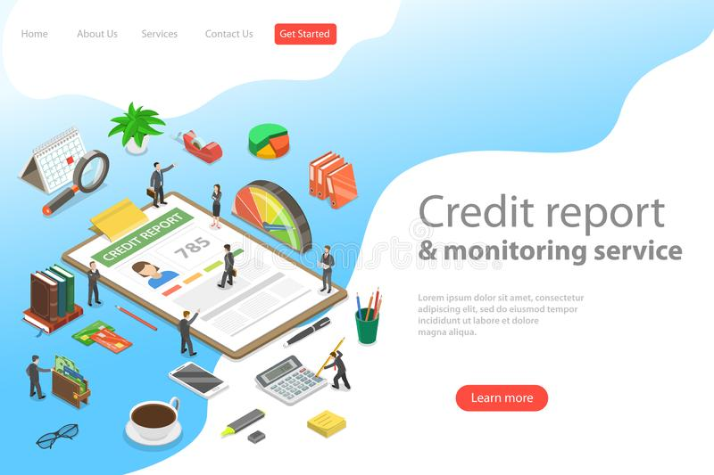 Flat isometric vector landing page template of credit score information. royalty free illustration