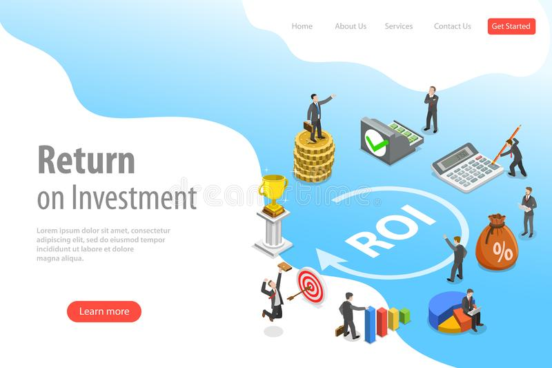 Flat isometric vector landing page template of return on investment, roi. Flat isometric vector landing page template of return on investment, roi, digital royalty free illustration