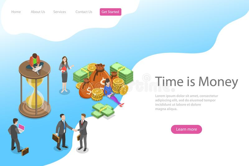 Flat isometric vector landing page template for time is money, income growth. stock illustration