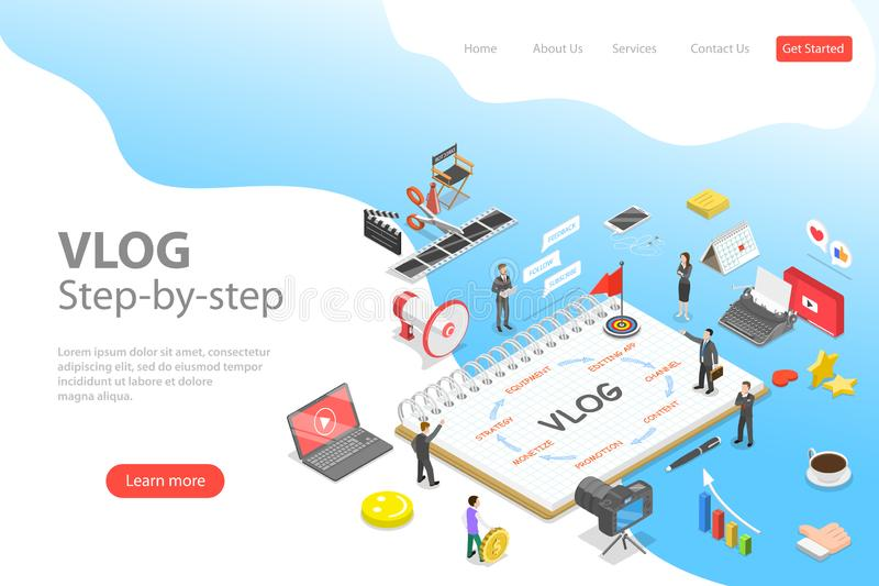 Flat isometric vector landing page template of video blog ste-by-step, vlog. royalty free illustration