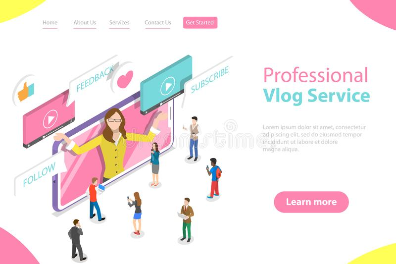 Flat isometric vector landing page template of vlog, video blog, online channel. vector illustration