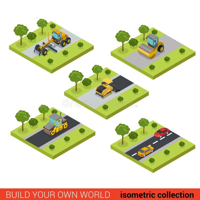 Flat isometric vector road highway making asphalt construction stock illustration