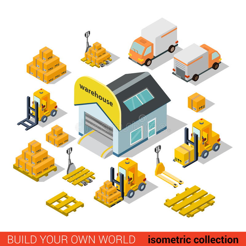 Flat isometric vector warehouse delivery transport infographic vector illustration