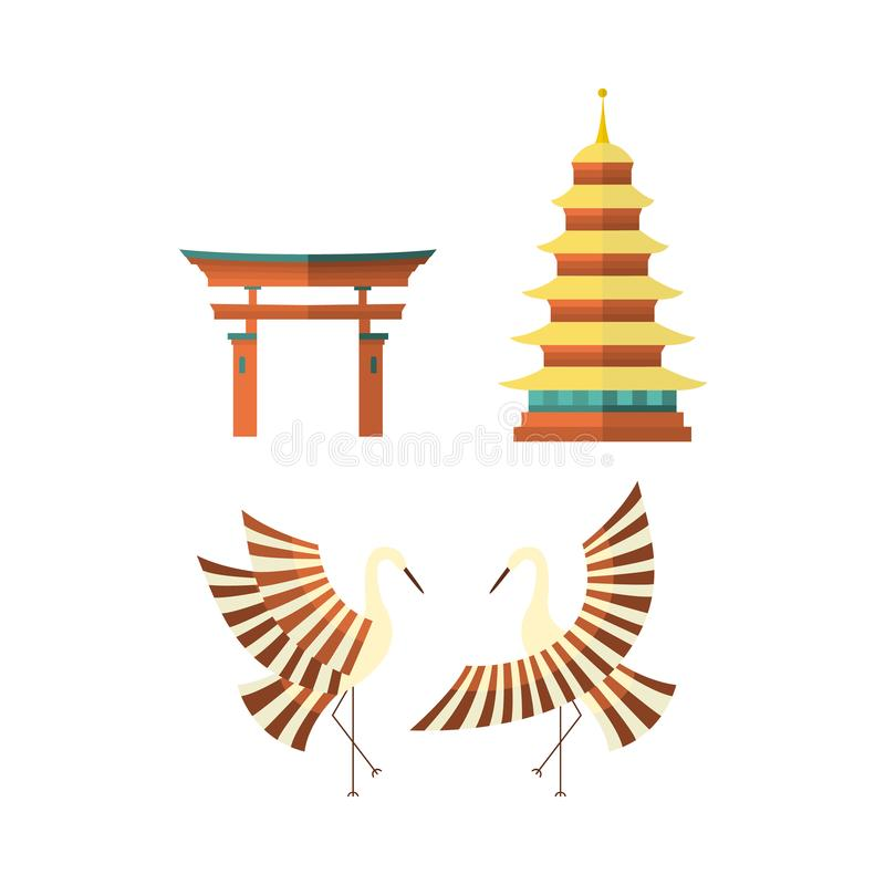 Flat Japanese pagoda, crane and torii gate icons vector illustration