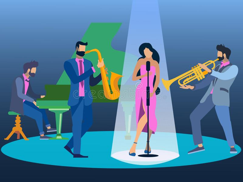 Flat Jazz music in minimalist style. The band performs on stage. Musical instruments. Cartoon Vector vector illustration