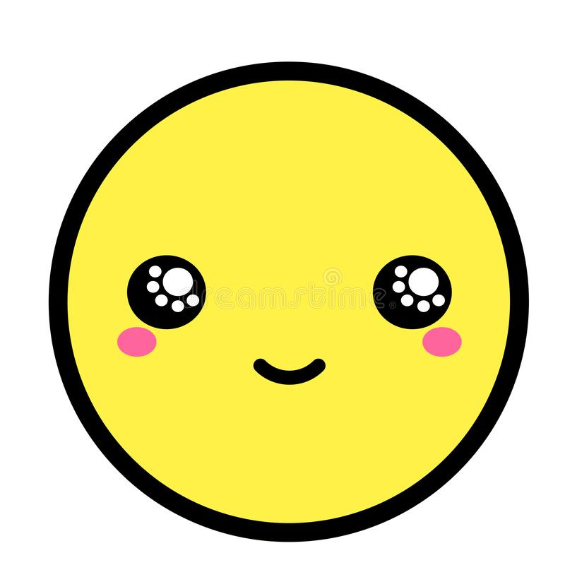 Flat kawaii emoji face. Cute funny cartoon character. Simple line art expressions web icon. Emoticon sticker. Vector graphic illustration royalty free illustration