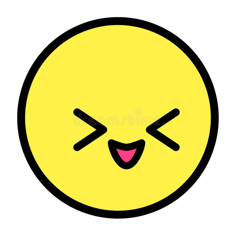 Flat kawaii emoji face. Cute funny cartoon character. Simple line art expressions web icon. Emoticon sticker. Vector graphic. Illustration vector illustration
