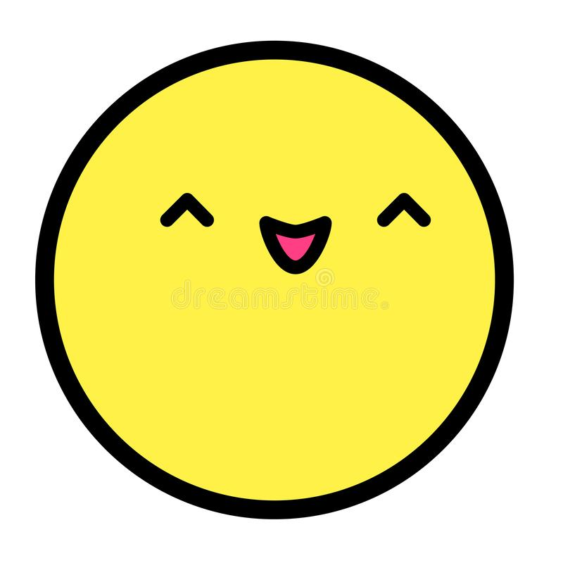 Flat kawaii emoji face. Cute funny cartoon character. Simple line art expressions web icon. Emoticon sticker. Vector graphic illustration stock illustration