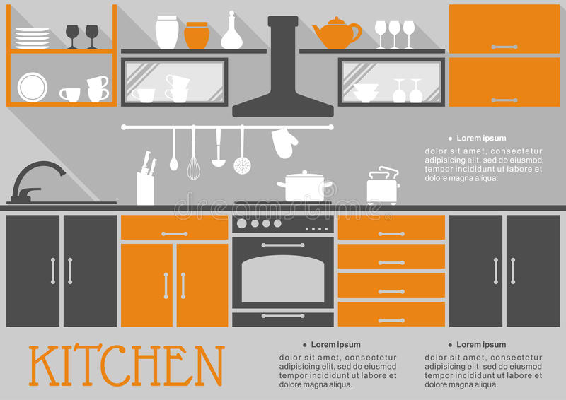 Download Flat Kitchen Interior Design Stock Vector   Illustration Of  Appliance, Interior: 47455493