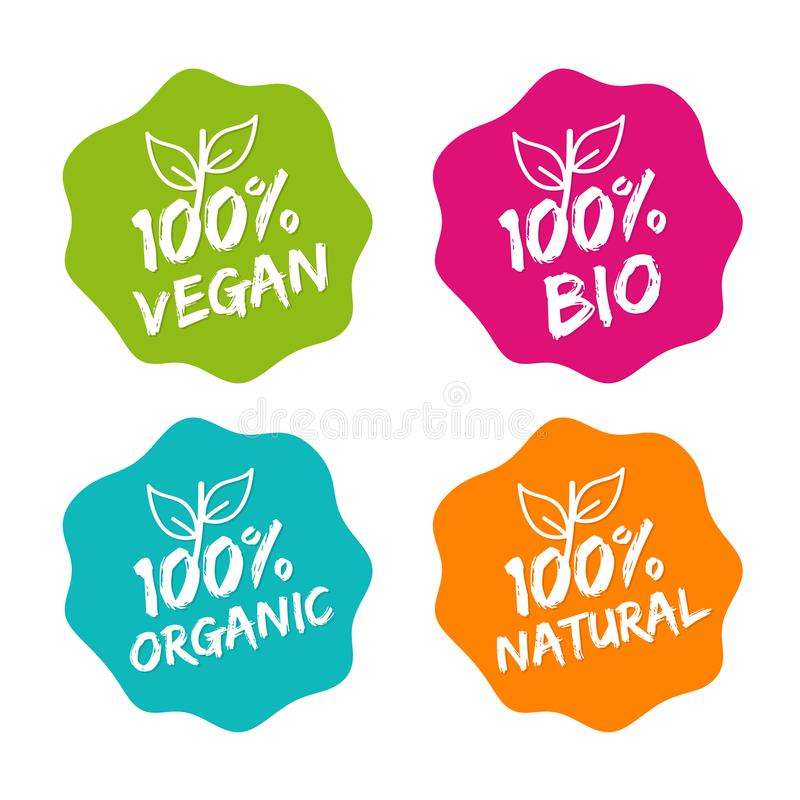 Flat label collection of 100% organic product and premium quality natural food. Eps10. Flat label collection of 100% organic product and premium quality natural vector illustration