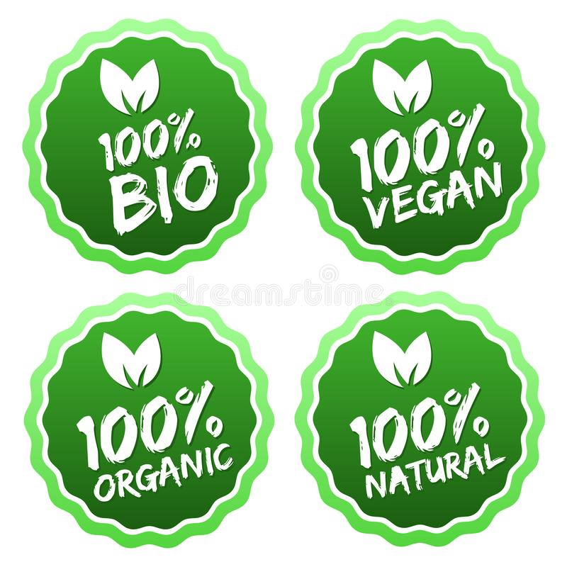 Flat label collection of 100% organic product and premium quality natural food. Eps10. vector illustration