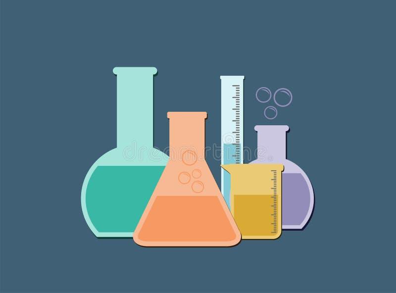 Download Flat laboratory glass stock vector. Image of beaker, background - 35037372