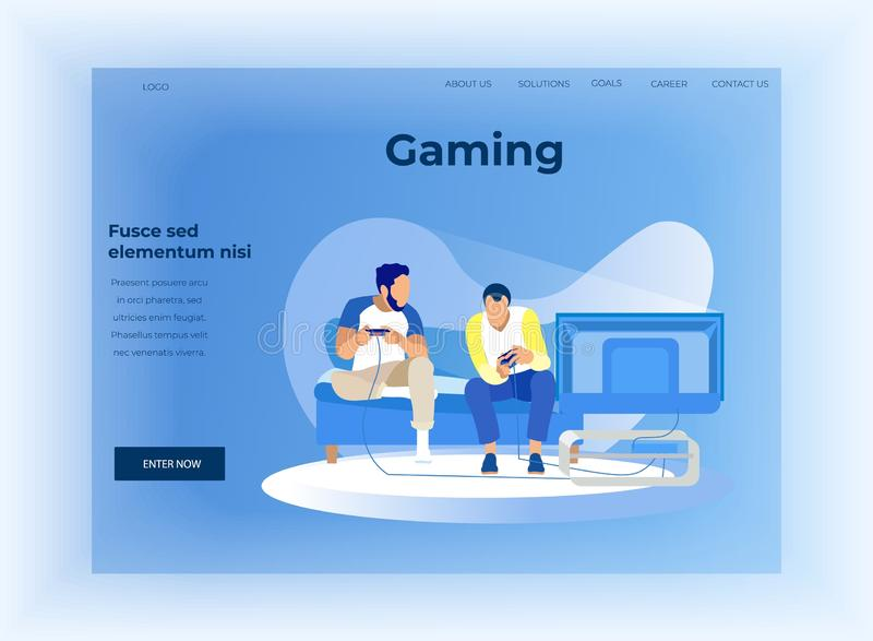 Flat Landing Page Offer Data Analysis in Gaming. Flat Landing Page Offer Data Analysis in Technology Smart Gaming. Cartoon Guys Having Virtual Competition. Male stock illustration