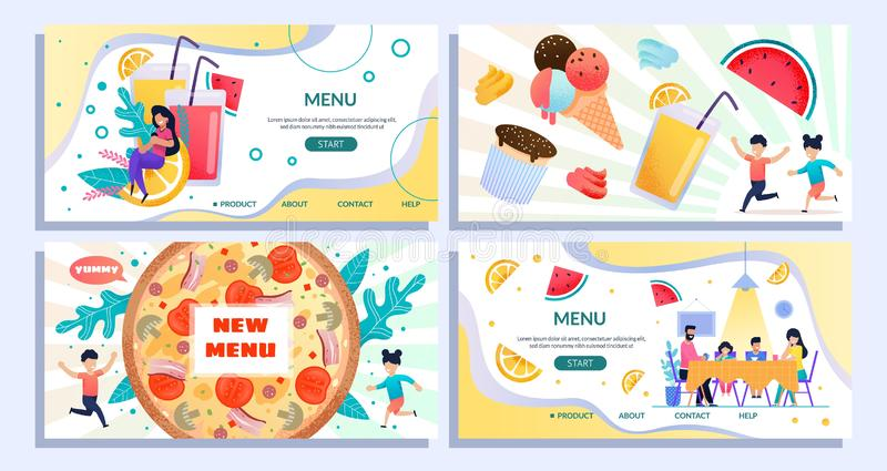 Flat Landing Page Set Advertising New Summer Menu. Italian Pizza, Special Offer for Family Members and Children, Sweet Desserts, Fruits and Fresh Juice. Vector vector illustration