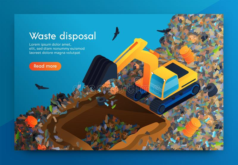 Flat Landing Waste Disposal at Huge Garbage Dump. royalty free illustration
