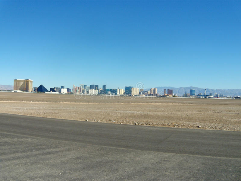 Flat landscape with the city line on the horizon. Valley with the city and mountain on the horizon. view on Las Vegas, Nevada. geometry of the urban buildings royalty free stock image