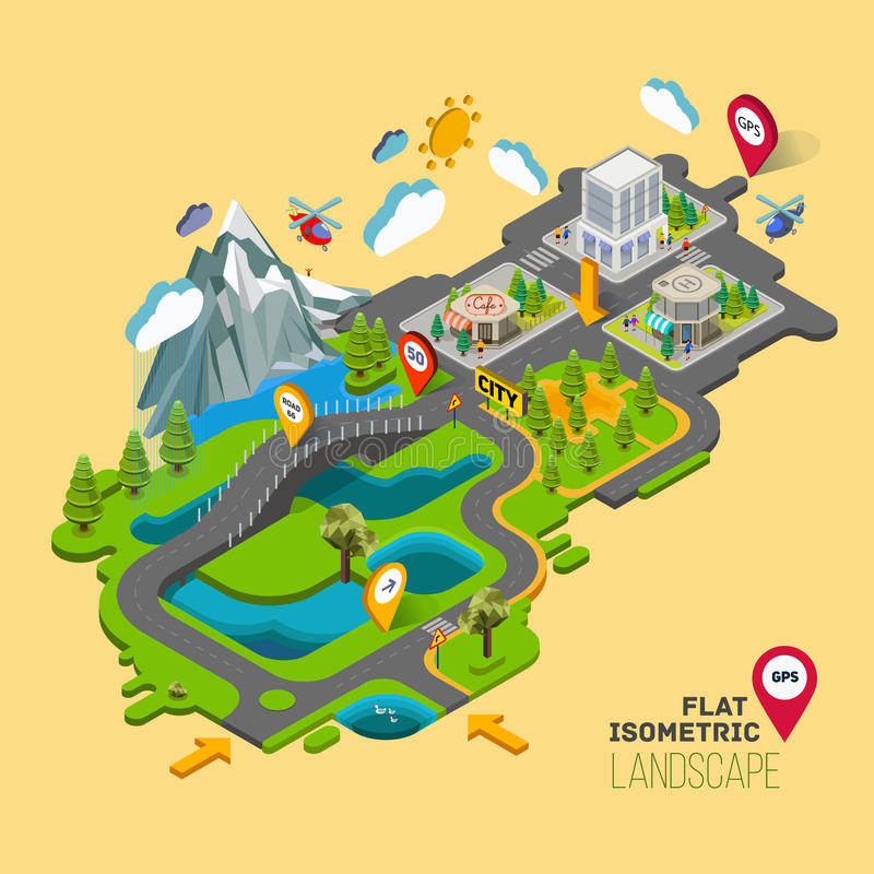 Flat landscape with a picture of the nature and landscape royalty free illustration