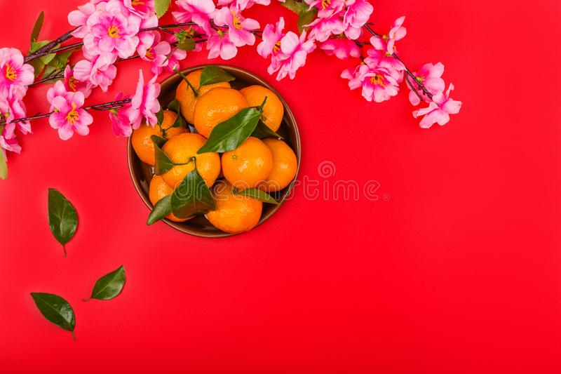 Flat lay of accessories Chinese new year 2020 and decorations Lunar new year festival concept background. Overhead, top view. Copy stock photography