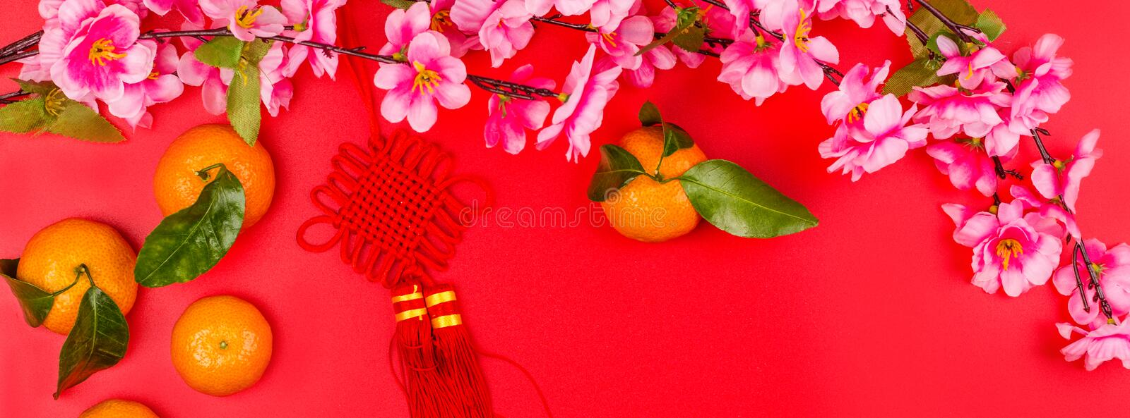 Flat lay of accessories Chinese new year 2020 and decorations Lunar new year festival concept background. Overhead, top view. Copy royalty free stock image