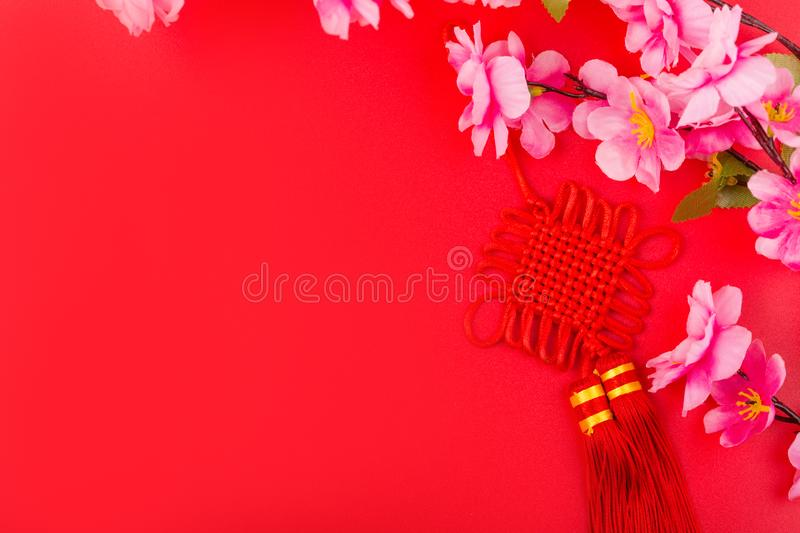 Flat lay of accessories Chinese new year 2020 and decorations Lunar new year festival concept background. Overhead, top view. Copy stock photos