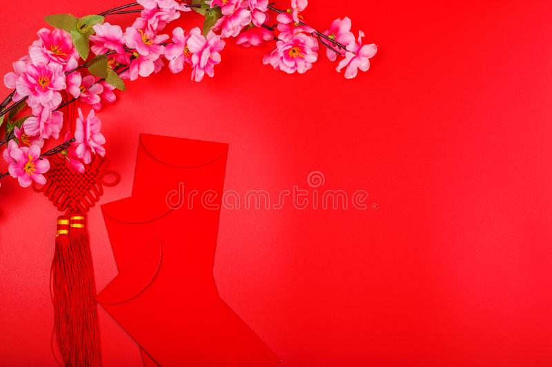 Flat lay of accessories Chinese new year 2020 and decorations Lunar new year festival concept background. Overhead, top view. Copy stock photo