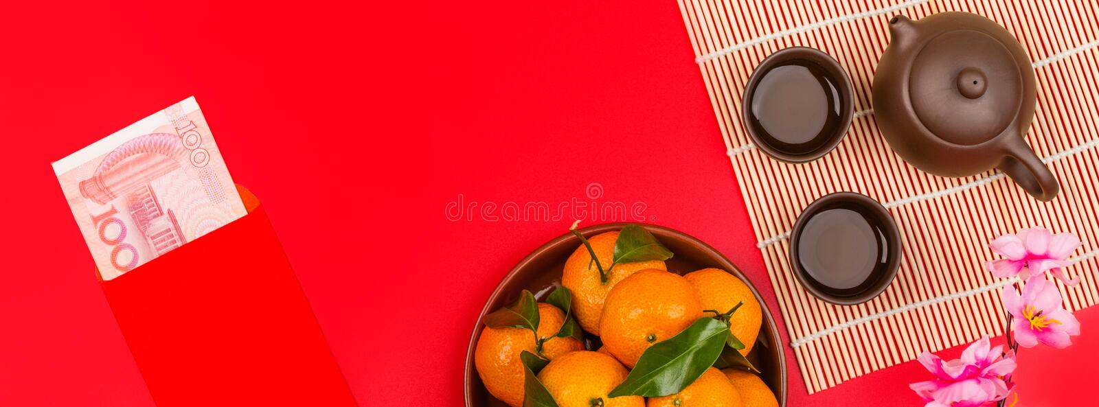 Flat lay of accessories Chinese new year 2020 and decorations Lunar new year festival concept background. Overhead, top view. Copy royalty free stock photos