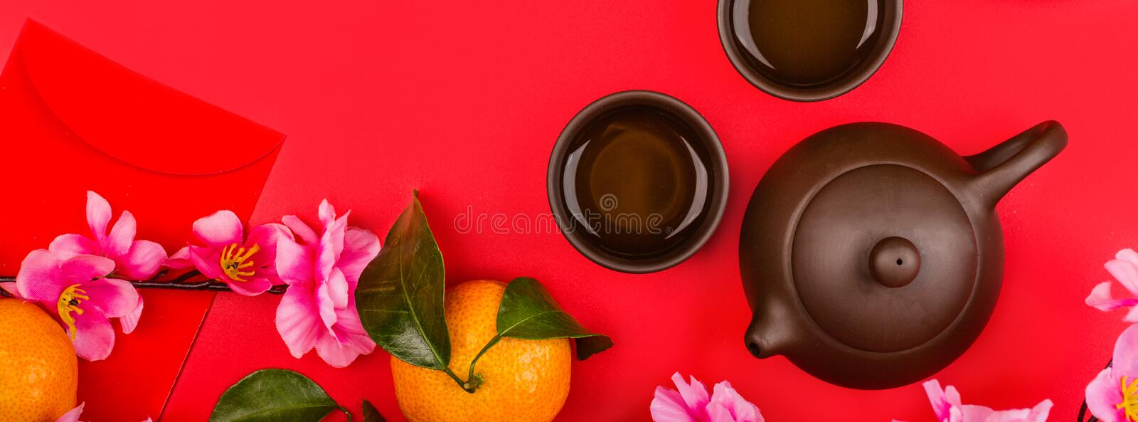 Flat lay of accessories Chinese new year 2020 and decorations Lunar new year festival concept background. Overhead, top view. Copy royalty free stock photography