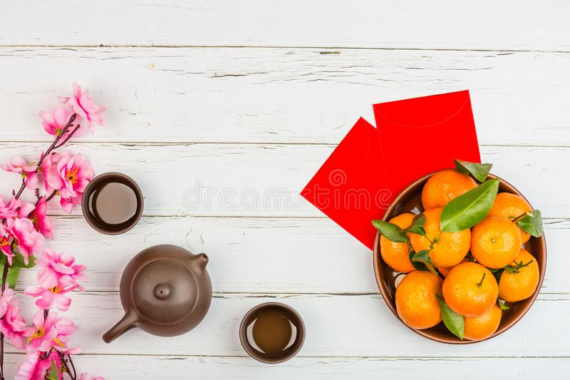 Flat lay of accessories Chinese new year 2020 and decorations Lunar new year festival concept background. Overhead, top view. Copy stock images