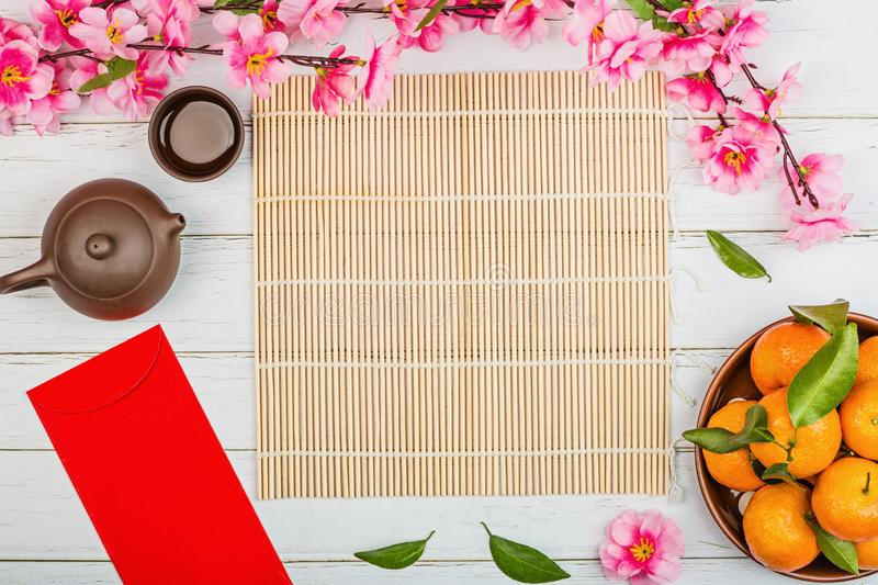 Flat lay of accessories Chinese new year 2020 and decorations Lunar new year festival concept background. Overhead, top view. Copy stock image