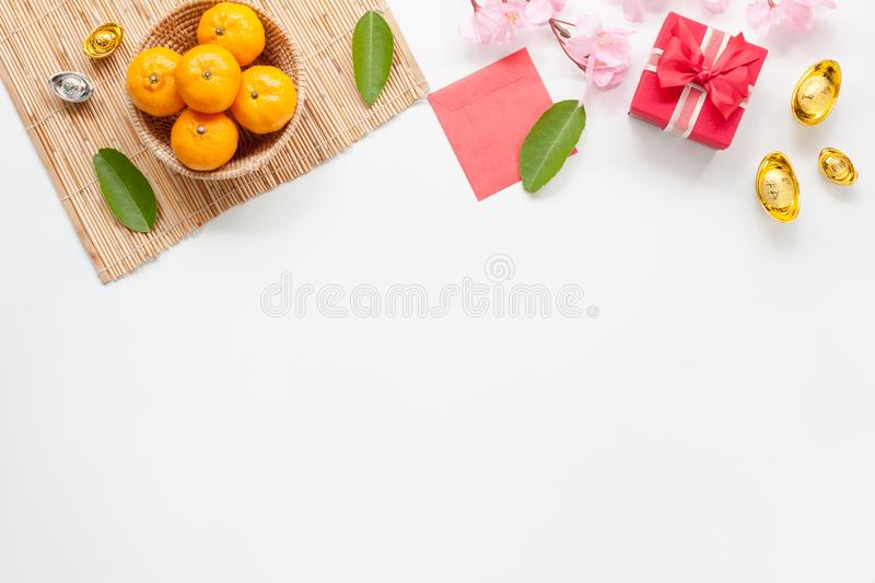 Flat lay of accessories Chinese new year and decorations Lunar new year festival concept background. royalty free stock photos